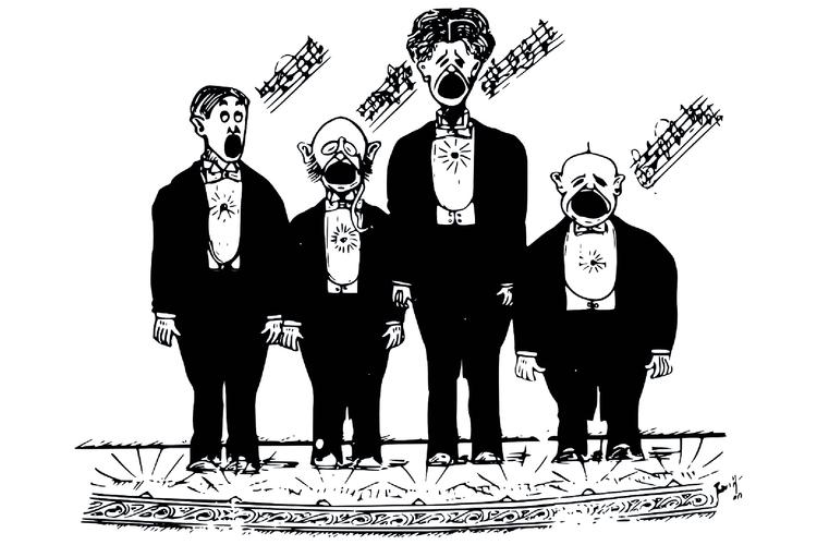 Neljä juhlapukuista miestä seisoo rivissä ja laulaa